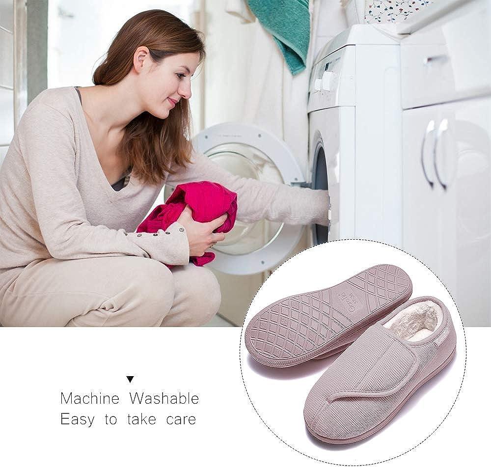 Garatia Pantoufle Femme Hiver Chausson Maison avec Velcro Couleur Unie Super Chaud