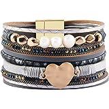 Jenia Women Leather Cuff Bracelet Mulit Strand Wrap Around Bracelets Charm Heart Boho Bangle Handmade Jewelry for Girls, Mother, Wife, Ladies, Lover Gift