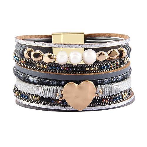 e8c1f76b57a Jenia Women Leather Cuff Bracelet Rope Wrap Bracelets Charm Heart Bracelet  Handmade Jewelry Birthday Gift for