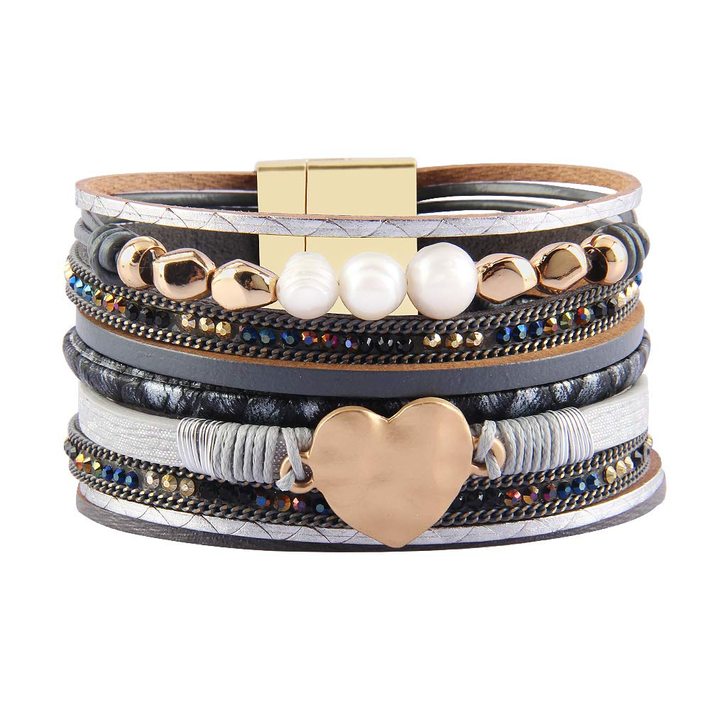 AZORA Leather Cuff Bracelet Multi Strands Gray Wrap Bangle with Pearl Boho Jewelry for Women Teen Girl Gift