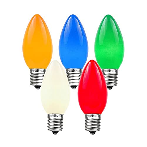 Novelty Lights 25 Pack C9 Ceramic Outdoor String Light Christmas Replacement Bulbs Multi E17