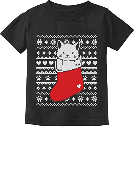 98a2fbd1c698b8 Cat in Stocking Kitty Ugly Christmas Sweater Toddler/Infant Kids T-Shirt 2T  Black