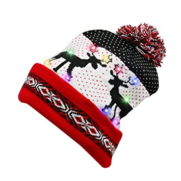 5f81d01b625a9b Genuva Light Up Christmas Beanie Cap with 10 Colorful Led Lights, Unisex Knitted  Santa Hat