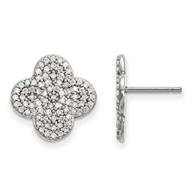 1fe1d62da27aab Image Unavailable. Image not available for. Color: Jewelry Best Seller 14k  White Gold Diamond Quatrefoil Design Post Earrings