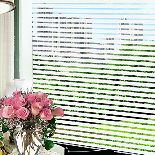 Wopeite Frosted Stripe Window Film Static Cling Privacy Window Cling Stained Glass Decorative Films for Meeting Room Home Office Meeting Rooms Glass Window Doors 17.7 X 78.7 inches - Frosted Design Side Glass