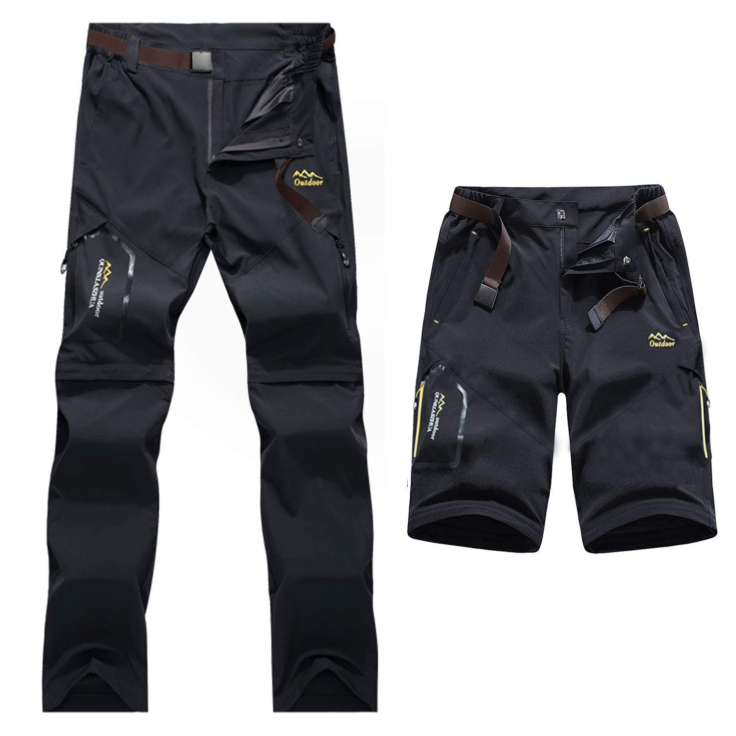 BWBIKE Mens Hiking Trousers Quick Dry Walking Trousers Outdoor Convertible Trousers with Belt For Climbing Camping