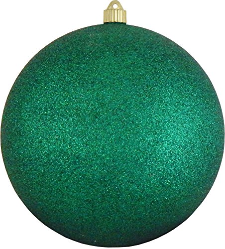 Christmas By Krebs Giant Commercial Shatterproof UV Resistant Plastic Christmas Ball Ornament Wedding Party Event Decor, 10 (250mm), Emerald Green Glitter