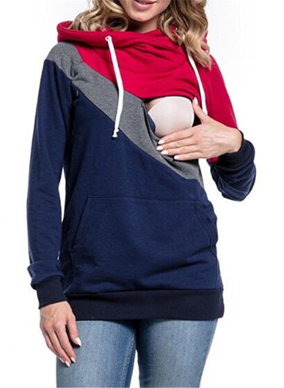 LUKYCILD Womens Maternity Nursing Top Sweatshirt Long Sleeve Patchwork Zipper Pullver Top Size M (Red)