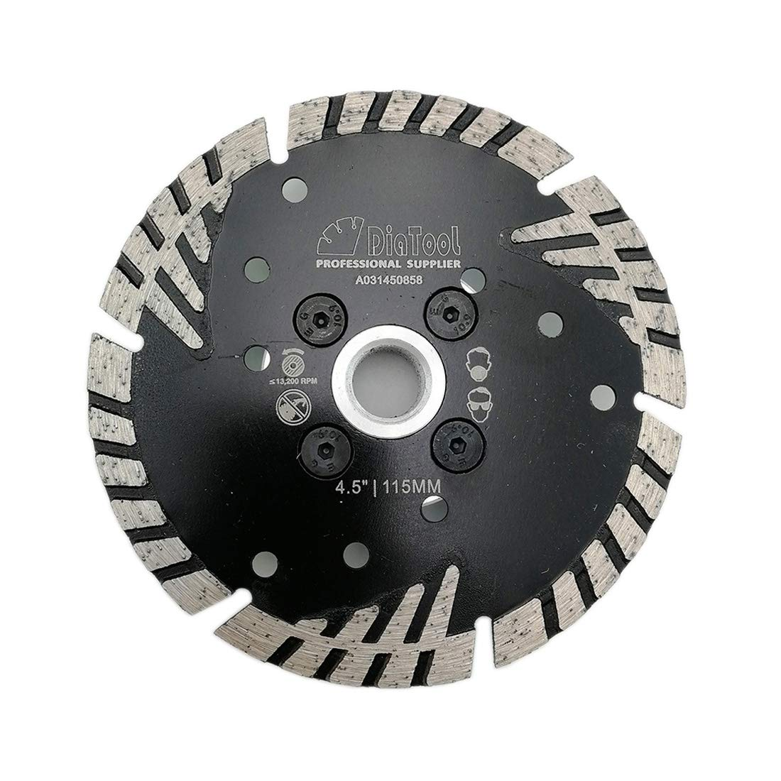 Disco de Diamante SHDIATOOL Diamante de hoja turbo 4.5 pulg. con dientes inclinados de protección Corte de piedra Granit