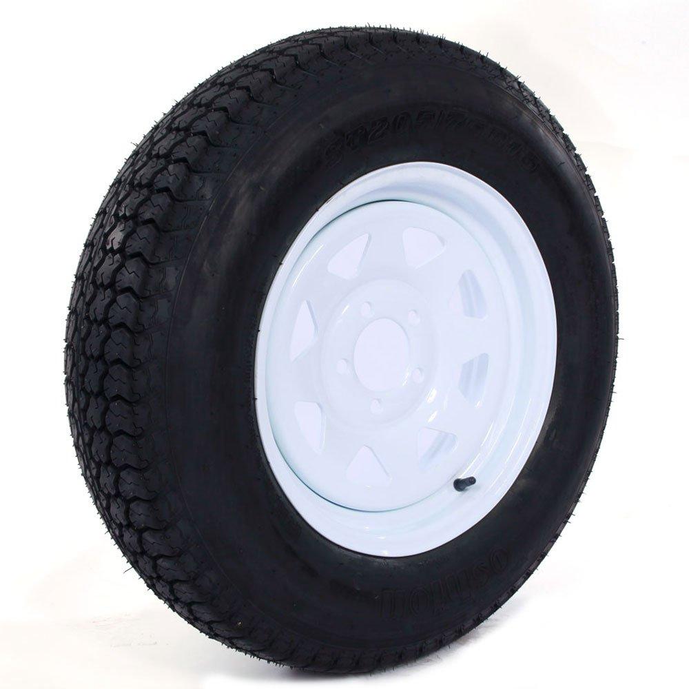 Motorhot 15 ST205/75D15-6PR H188 Trailer Tires with Rims LRC 5 Lug 6 Ply C Range Rubber Wheel
