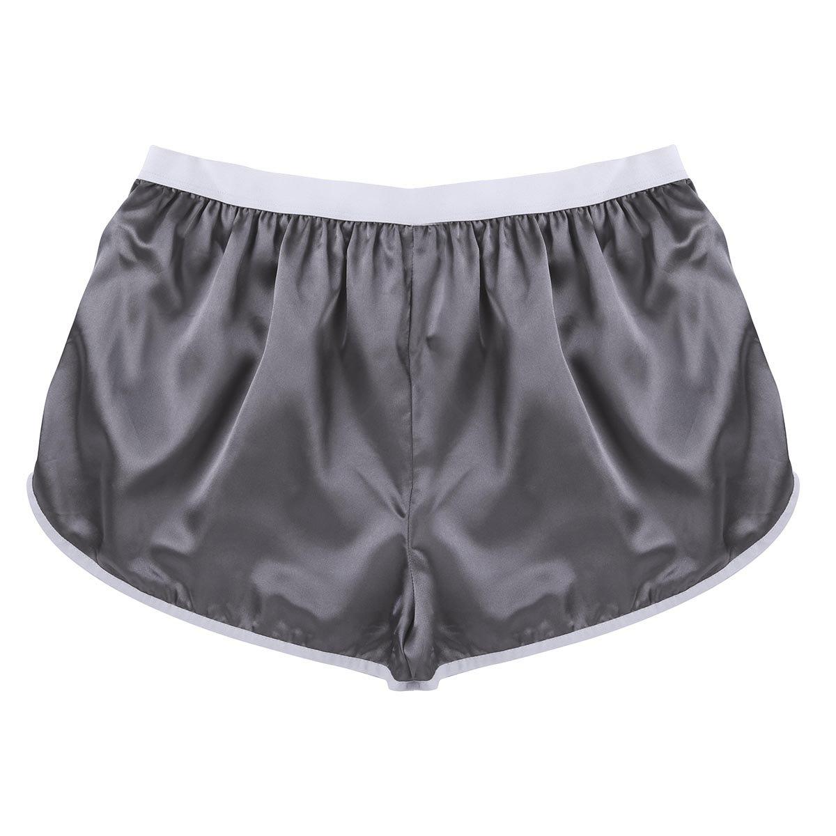YiZYiF Men's Summer Silk Shorts Frilly Satin Boxer Briefs Casual Loose Underwear Silver-Gray Large(Waist 27.0-50.0''/69-126cm)