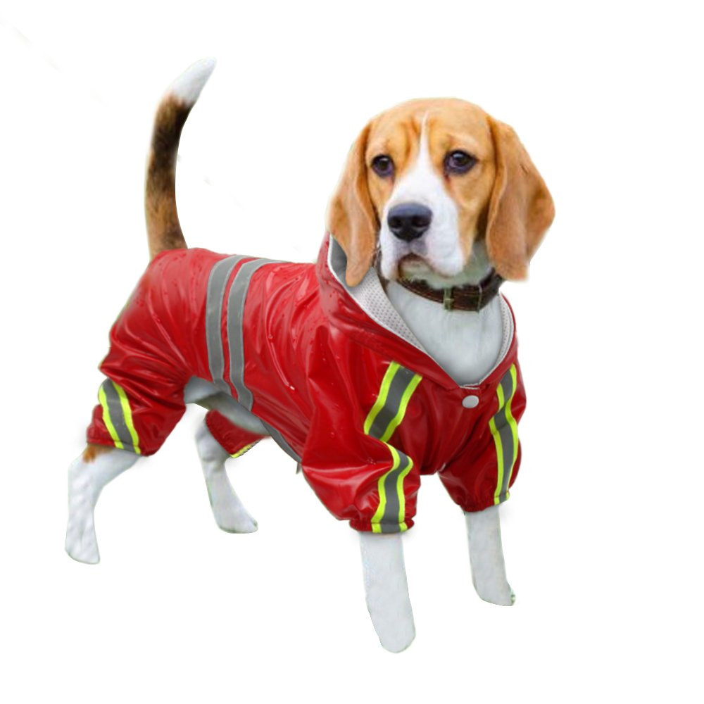 Red Chest 17.5\ Red Chest 17.5\ Didog 4 Legs Reflective Dog Raincoat Jacket,Lightweight Waterproof Dog Rainwear Clothes for Small Medium Large Dogs,Red,L Size
