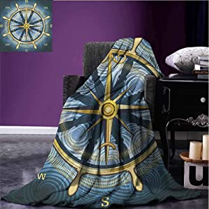 Stevenhome Compass Lightweight All-Season Blanket Navigation Golden Compass with Windrose and Helm on a Wavy Backdrop Maritime Microfiber All Season Blanket Yellow Navy Blue Bed Blankets 70x90 inch