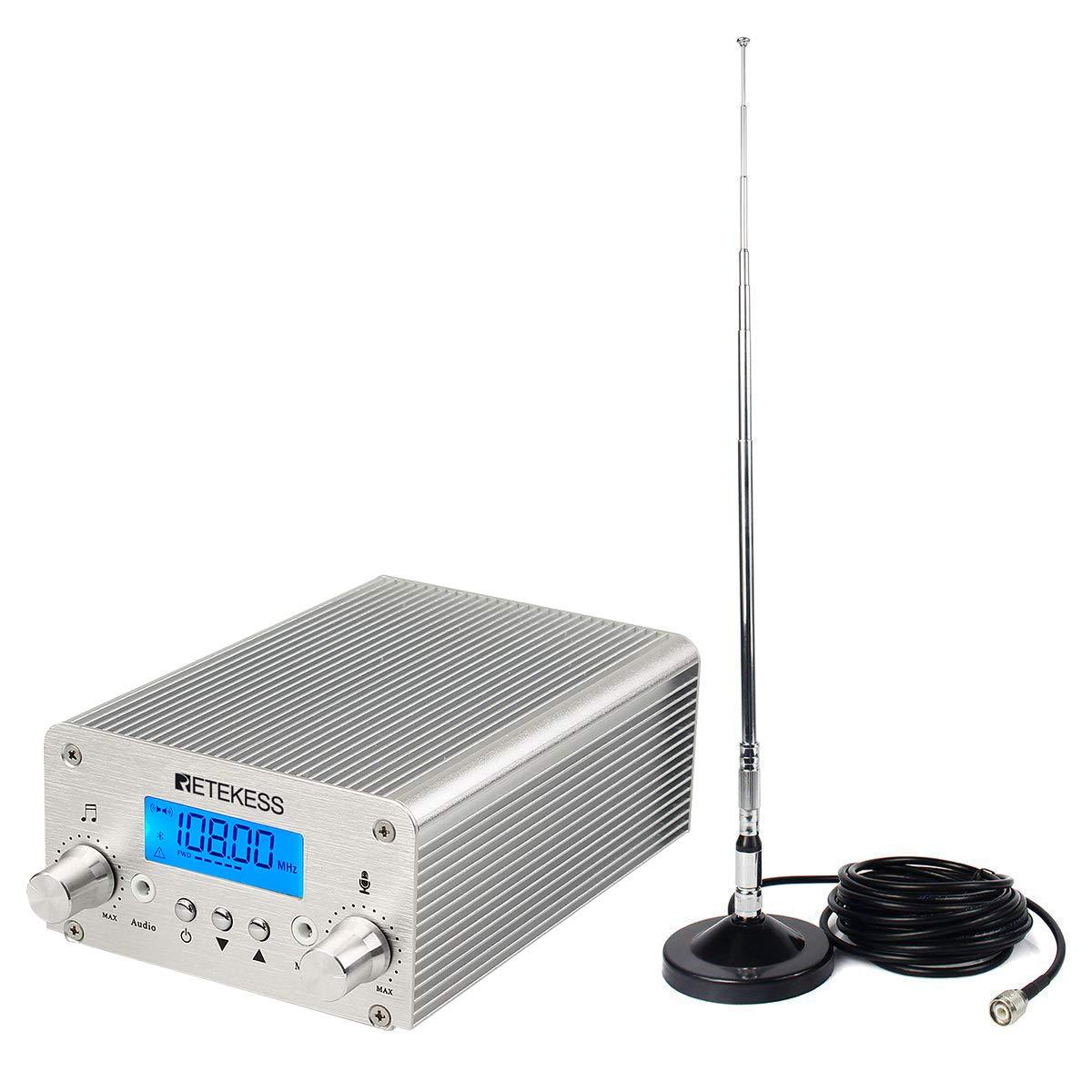 Retekess TR502 15W FM Transmitter Long Range Wireless Broadcast Stereo  Station 8 Level RF Power Adjustable Support AUX Input USB for Church(Silver)