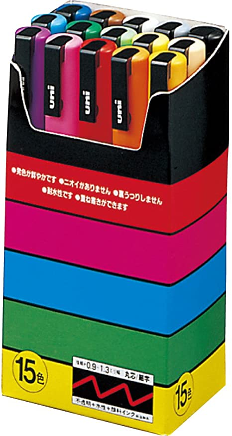 Uni Posca Paint Marker Pen Fine Point Set Of 15 Pc 3m15c