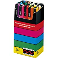 Uni-Posca Paint Marker Pen- Fine Point- Set of 15 (PC-3M15C), red,blue,yellow
