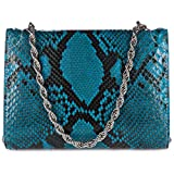 d Este womens clutch with shoulder strap handbag bag purse pitone blu