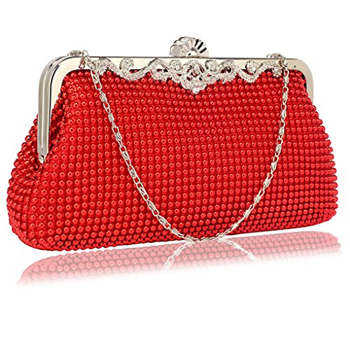 Evening Designer CWE0047 CWE0047 Purse Bags Clutch Bag Handbags Bridesmaid Women's Small Red CWE00139 Bridal's 0UaqnSa6