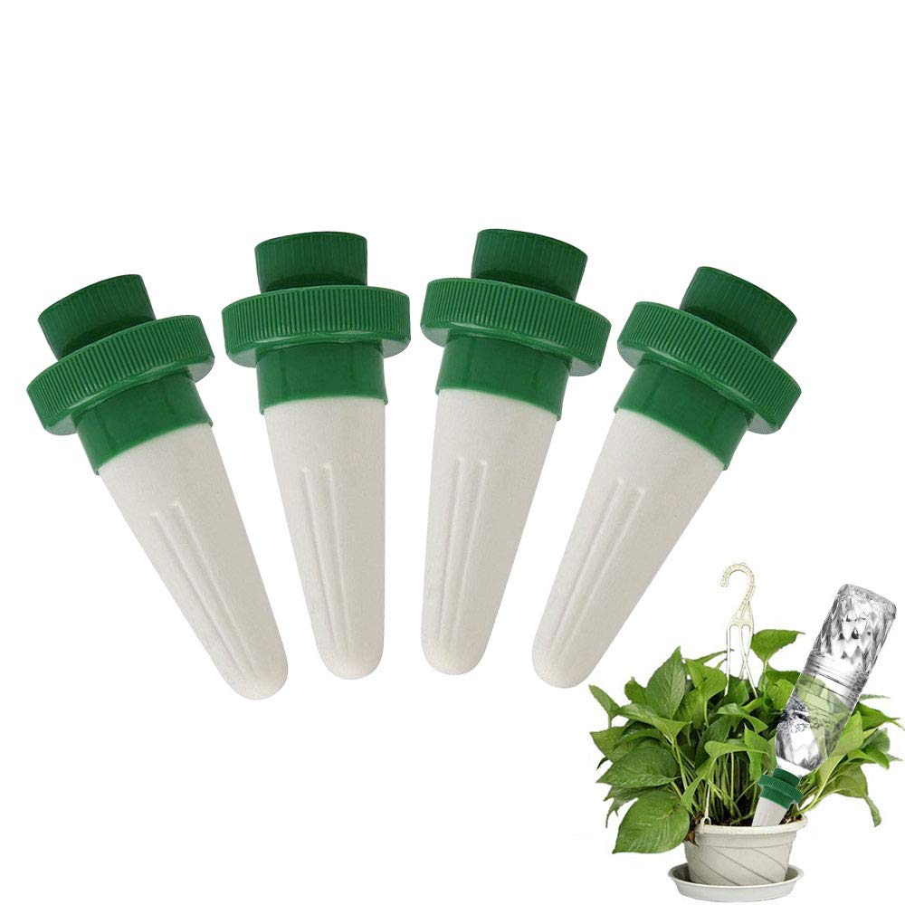 Self Plant Watering Stakes, Celover Self Plant Watering Spikes, Vacation Plant Watering Devices for Plastic Bottles, Self Watering Drippers, Plant Waterer Offering Great Care for Your Plants, 4 Pack