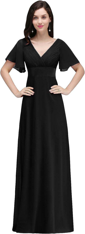 MisShow Women's Short Sleeve V Neck Empire Waist Long Formal Bridesmaid Wedding Dress