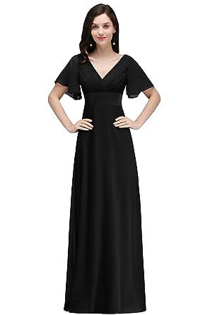 b32ec15f890e MisShow Women s Double V-Neck Short Sleeve Empire Waist Long Evening Dress (Black