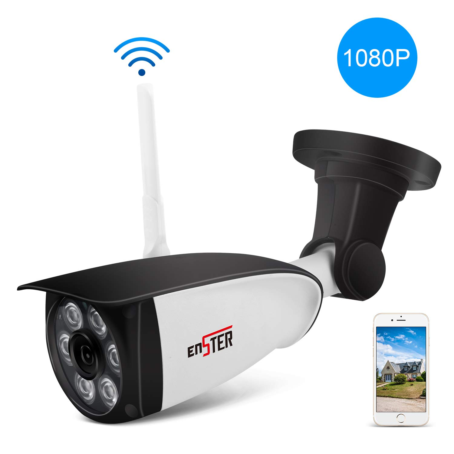ENSTER Wireless Outdoor Security Camera - 1080P Home Outside Surveillance Camera - Motion Detection, Waterproof, Night Vision, FTP, Support Max 128GB Micro SD Card -Windows, iOS, Android Compatibility