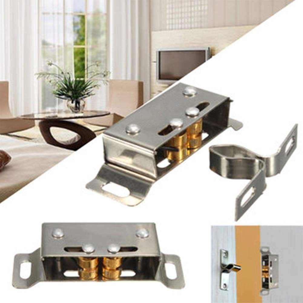 2X Stainless Steel Cabinet Catch Stopper for Wardrobe Kitchen Cabinet Door Latch