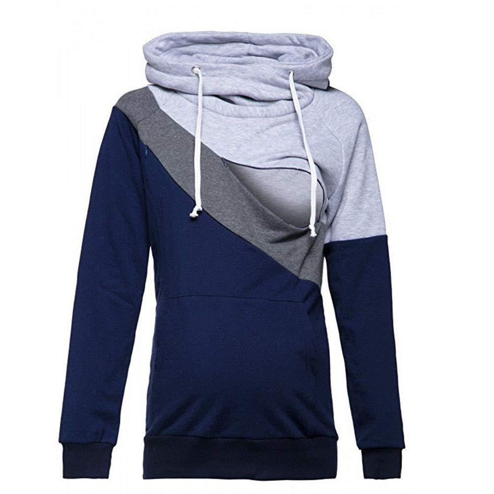 AOWEI EC Damen Stillpullover Hoodie Sweatshirt Sweatjacke Umstandsmode Kapuzenpullover Langarmshirts