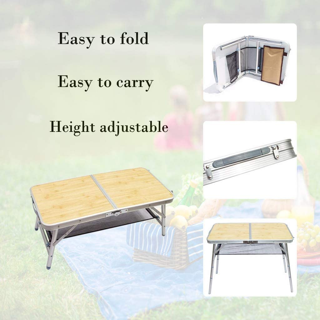 Yellow Aluminum Folding Table for Camping Picnic Party BBQ Outdoor,Easy to Portable Carrying,4 Foot Lightweight Foldable Table Height Adjustable