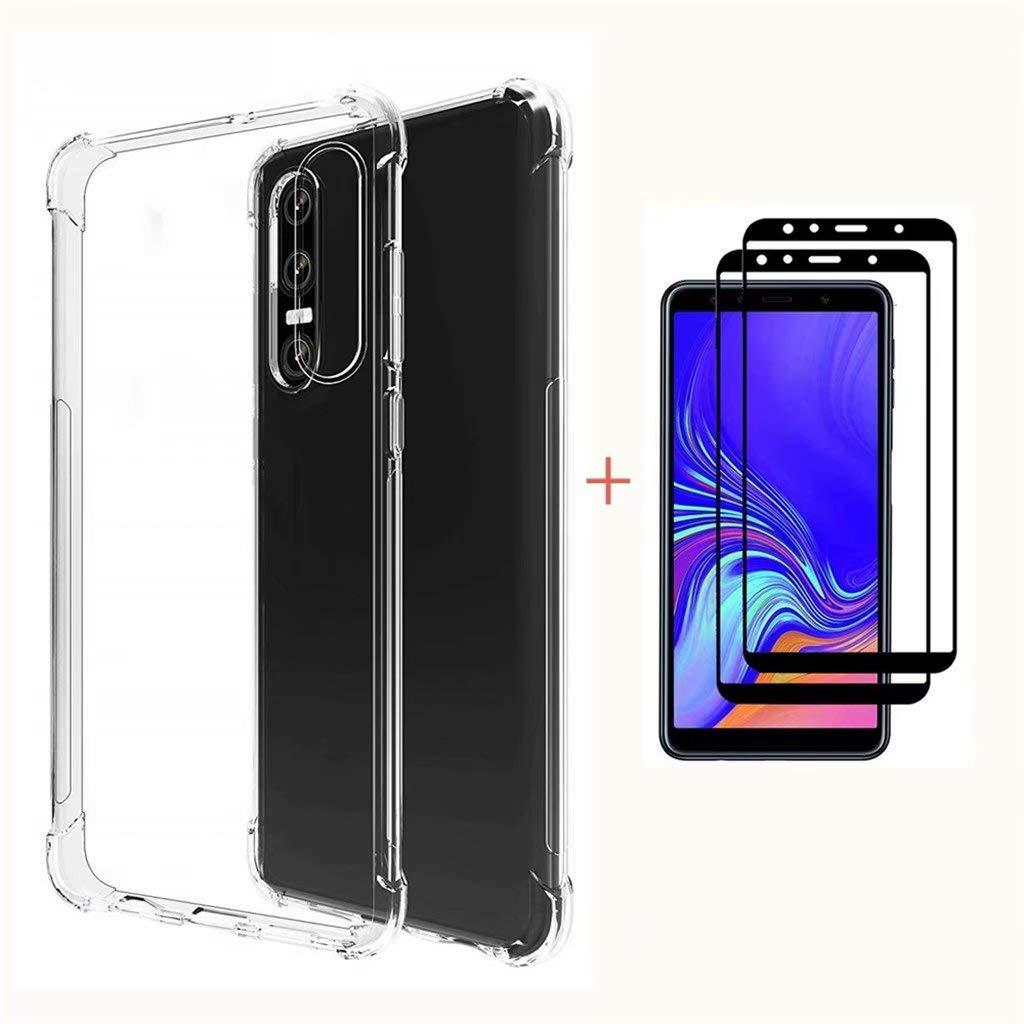 Fanxwu Compatible con Funda Xiaomi Mi 8 Lite Case Ultrafina Transparente Suave TPU Silicona Caso + 2*Película de Cristal Templado Diseño de Cojín de ...