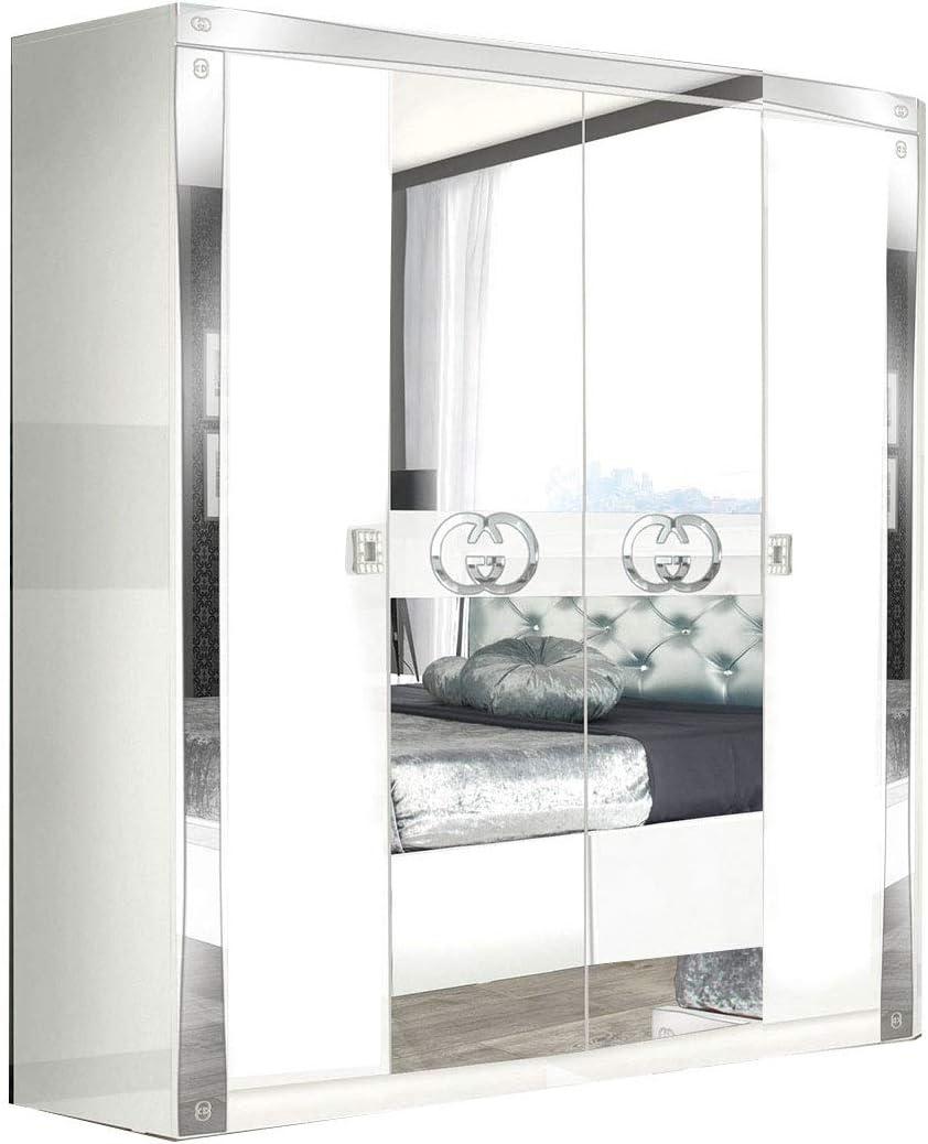 LIGNEMEUBLE Armario de 4 Puertas con Acabado Lacado Blanco y Plateado: Amazon.es: Hogar