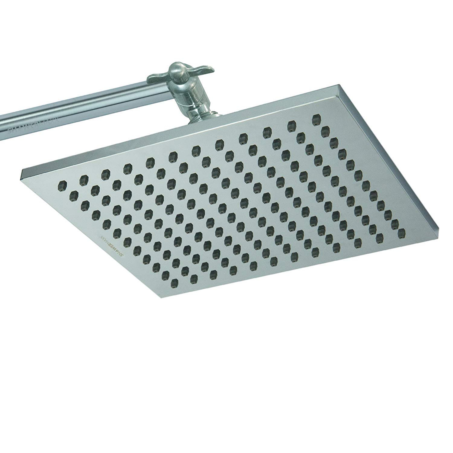 ShowerMaxx | Premium 8 inch Square High Pressure Luxury Spa Rainfall Shower Head- Removable Restrictor for Waterfall Rainshower- Self Cleaning High Flow Nozzles – Brushed Nickel Finish Rain Showerhead