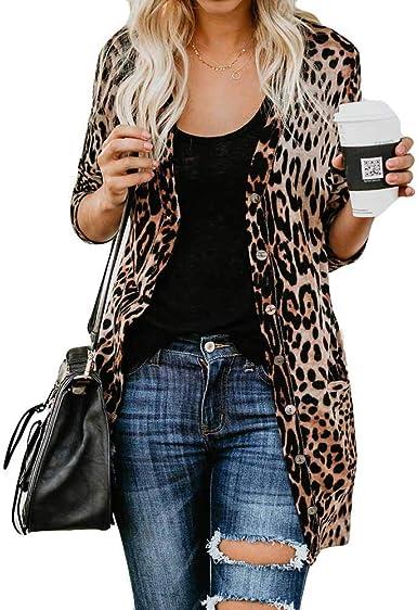 Blusas Casual Mujer Cardigan Largo Leopardo Mangas Largas Camisas Tallas Grandes con Botones Otoño Invierno Camisa Tops Shirt Retro para Fiesta Oficina Trabajo RISTHY: Amazon.es: Ropa y accesorios