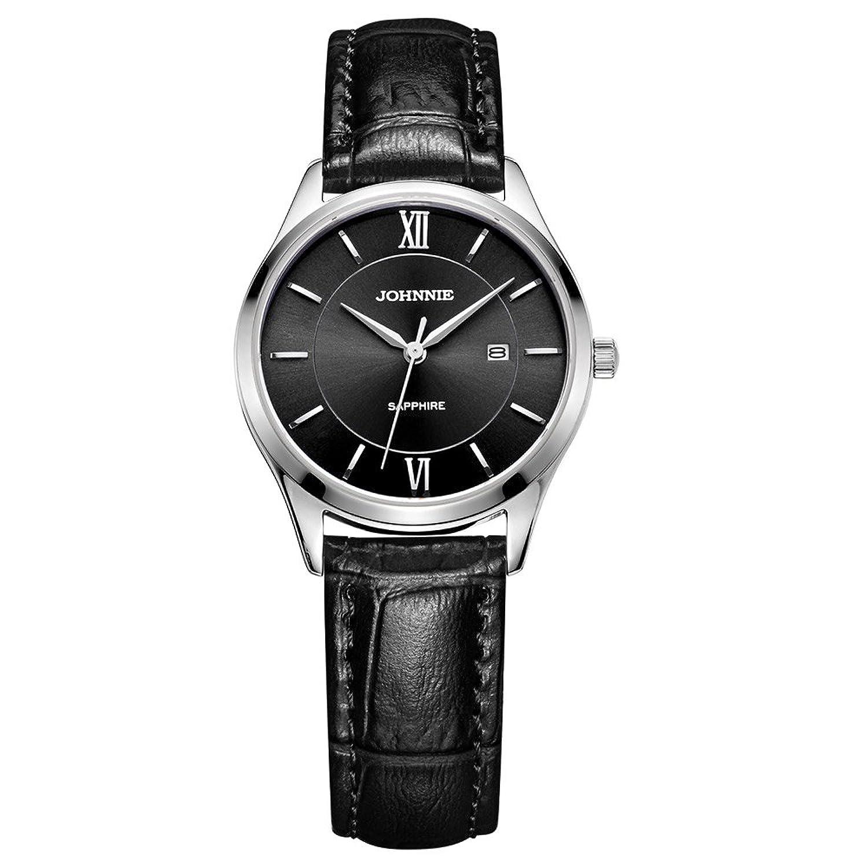 Johnnie Damen Klassische Quarz-Uhren mit Edelstahl Fall - Schwarz Komfortable Echt Leder Gurt Handgelenk Band