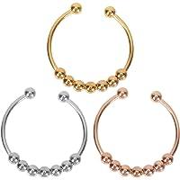 FRCOLOR 3Pcs Stainless Steel Beads Ring Fidget Ring Anti Rings Beads Ring Open Adjustable Figit Ring Set for Girls Men