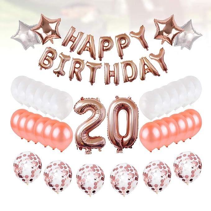 Toyvian 20th Birthday Banner Globos Conjuntos para 20 años ...