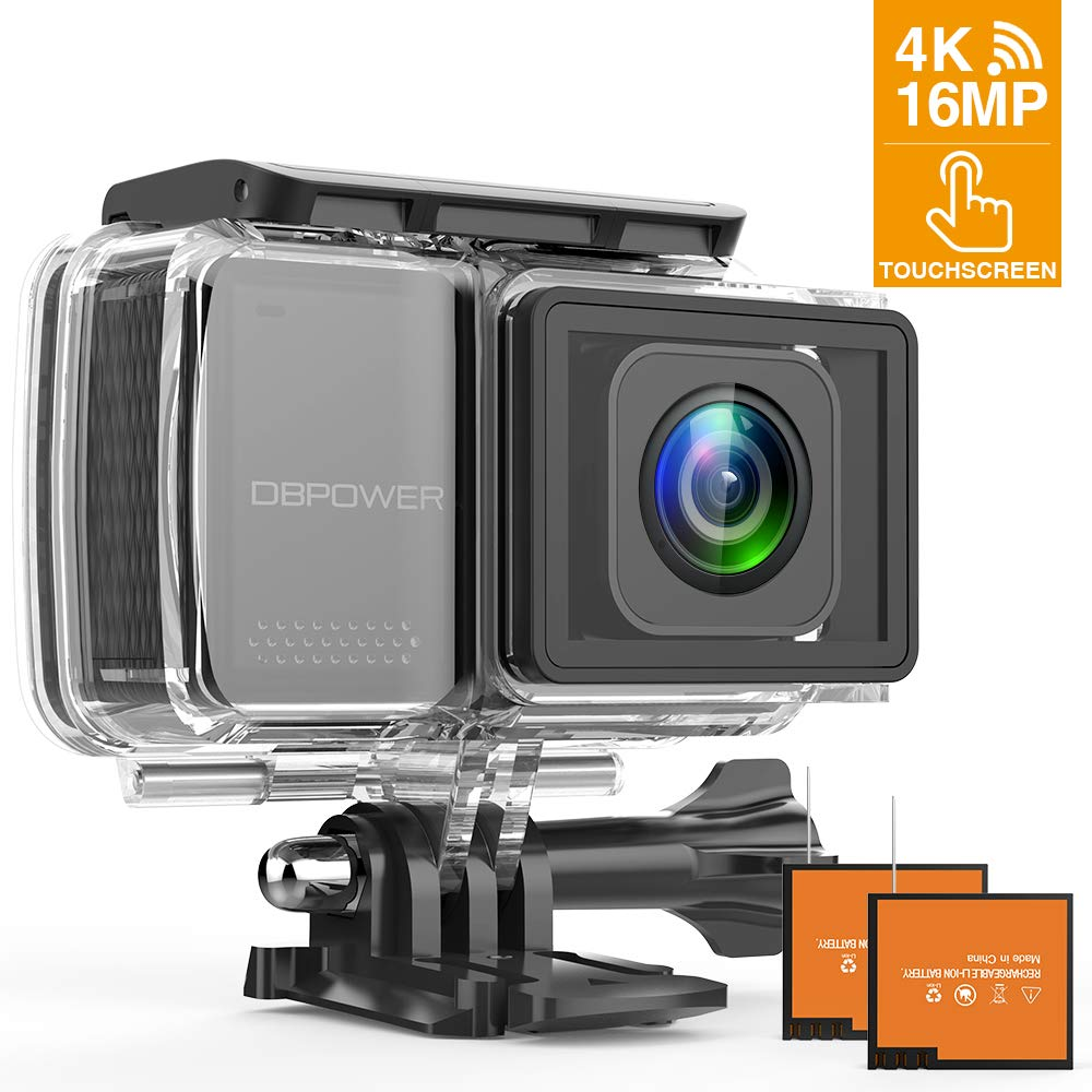 DBPOWER EX7000 PRO 4K Action Camera 2.45'' LCD Touchscreen Underwater Camera with 16MP Image Sensor Waterproof Sports Cam and 170° Wide-Angle Lens 2X Rechargeable Batteries