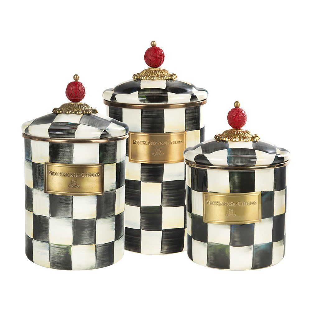 MacKenzie-Childs Courtly Check Enamel Canister - Small 6.5'' Tall x 4.75'' Diameter