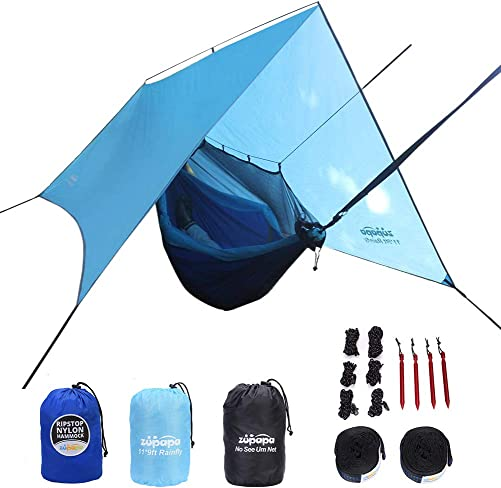 Zupapa Camping Hammock with Mosquito Net and Rainfly, 4 in 1 Hammock Camping Bundle, Ripstop Hammock, Extra Large Tarp, Detachable Mosquito Net, Full Accessory Included for Outdoor