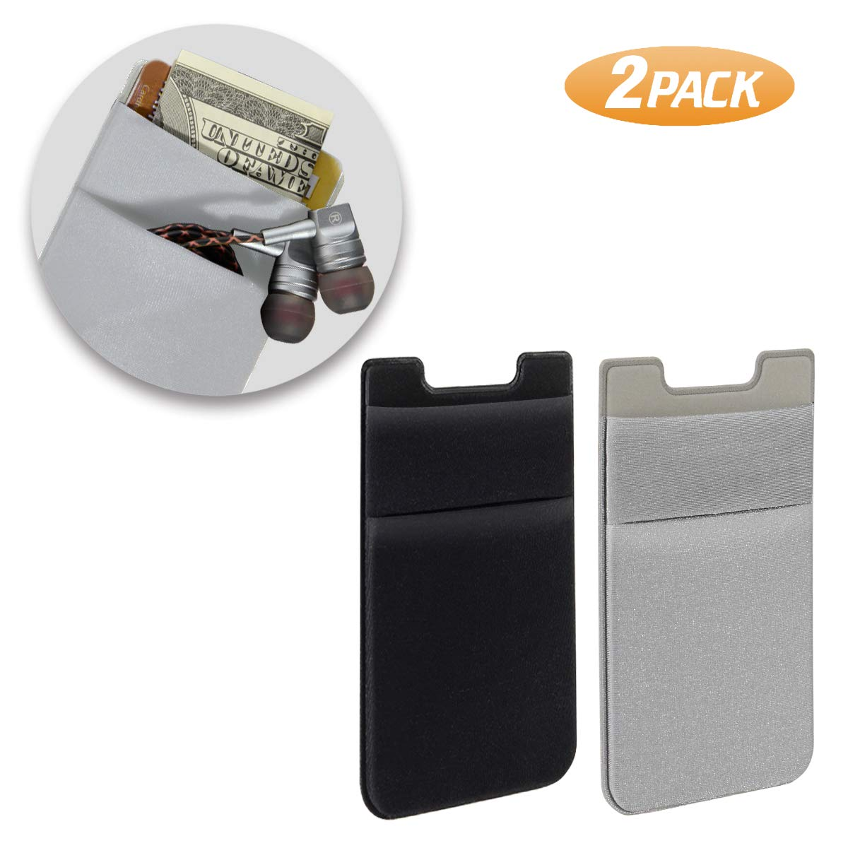 brand new 7a6c8 20055 SHANSHUI Phone Card Holder, Double Slots Stretchy Fabric Adhesive Lycra  Spandex Card Sleeves Stick On Phone/Case Wallet with Pocket (Black & Grey)  - 2 ...