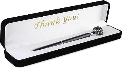 Bolígrafo de cristal con tachuelas en estuche de terciopelo de lujo con mensaje en inglés: