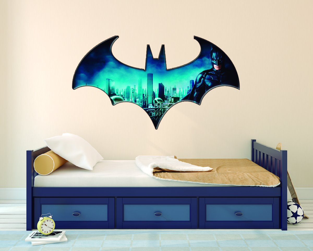 Gotham City with Batman logo - 3D Wall Effect - Wall Decal For Home bedroom Decoration (Wide 30''x17'' Height Inches)