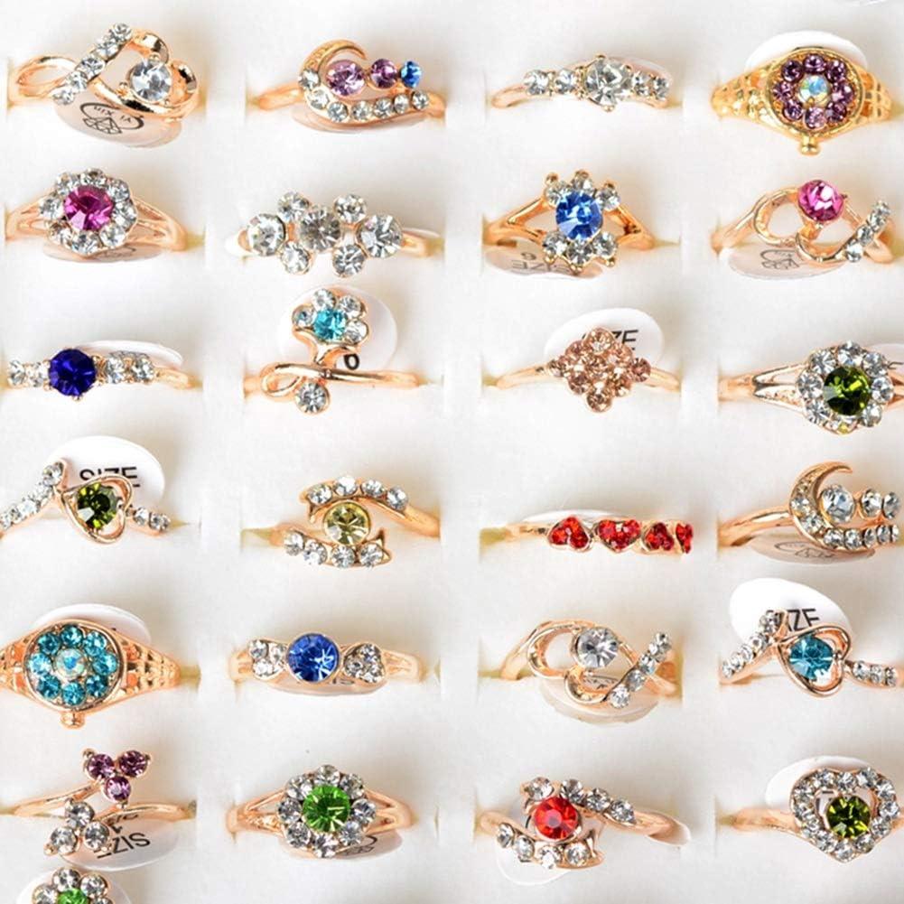 Pinksee Wholesale 10pcs Children Rhinestone Rings Cute Rings Set for Girls