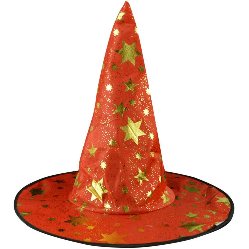 Exteren Adult Womens Mens Witch Hat for Halloween Costume Accessory Stars Printed Cap Hat Organizer (Black)