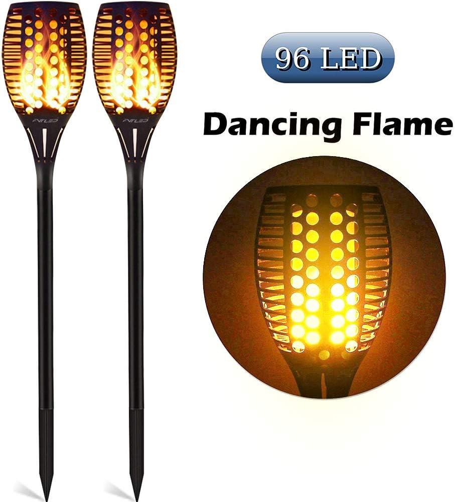 Kunststoff Garten Leuchte Lampe Solar Fackel Flammen Licht 73 cm Solar Gartenfackel FLAME mit 51 LED