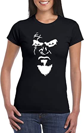 Black Female Gildan Short Sleeve T-Shirt - Kratos Face design