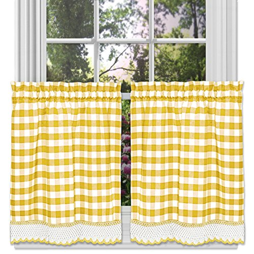 (Designer Home Window Panel Curtain Tier Pair Kitchen Drape Plaid Gingham Checked Yellow Checkered Panel)