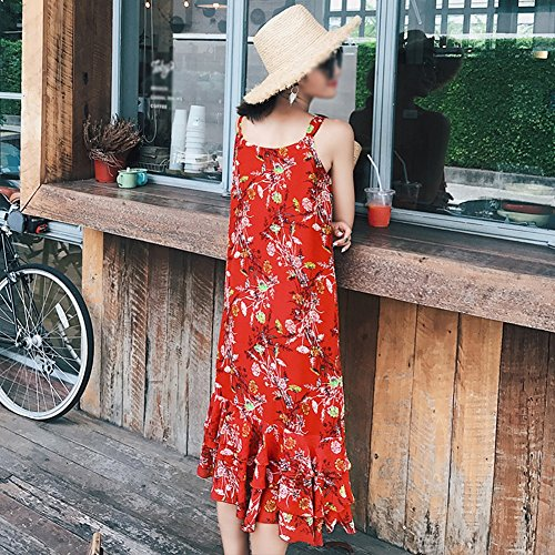 Rock Dress Summer Küsten Kleider Sling langer Clothes Chiffon Beach Rot weiblicher Rotes Rock qttIzv