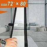 Magnetic Screen Door 72x80, Mesh French Screen Fiber Heavy Duty Large Double Door Insect Screen Mesh Fit Your Door Size 70W X 79H inch with Full Frame Hook&Loop Front Door Screen(72 X 80 inch, Gray)