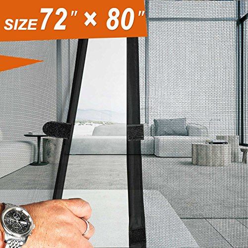 Magnetic Screen Door 72x80, Mesh French Screen Fiber Heavy Duty Large Double Door Insect Screen Mesh Fit Your Door Size 70W X 79H inch with Full Frame Hook&Loop Front Door Screen(72 X 80 inch, Gray) by MAGZO
